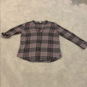 Joie plaid button down shirt w/ adjus. sleeves